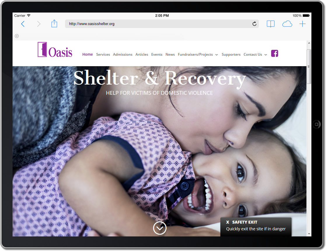 Oasis Womens Shelter, Owensboro KY website ipad view